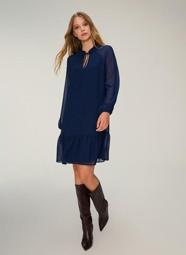 NGSTYLE Volan Detaylı Reglan Elbise Lacivert